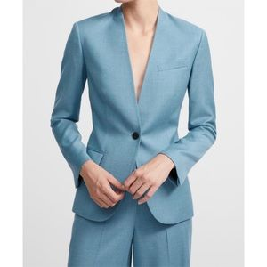 NEW Theory Staple Collarless Sleek Flannel Blazer